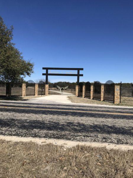 Aim High Fence Builders - Texas Ranch Pipe & Brick Entrance & Gate
