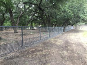 Aim High Fence Builders - Texas Ranch Metal Pipe Rail & Mesh Fence Construction